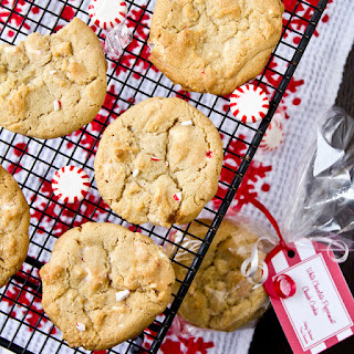 White Chocolate Peppermint Chunk Cookies.