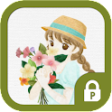 Girl holding flower protector icon
