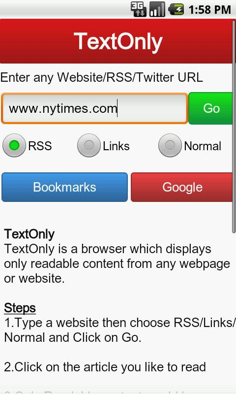 TextOnly Browser - screenshot