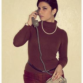 Italian 60's by Alessandra  Romano  - People Portraits of Women ( italian 60's. style, woman, beautiful, brown, telephone )