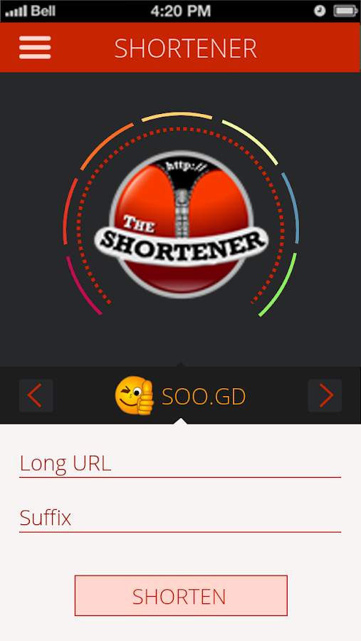 The URL Shortener- screenshot