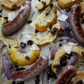 One-Pan Sausage, Squash, and Red Onion Roast