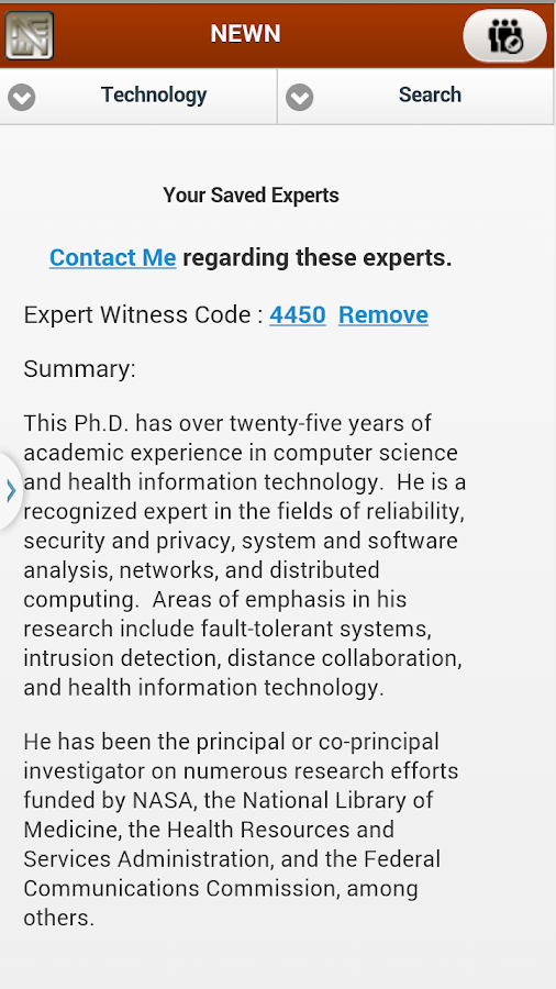 NEWN Expert Witness Search- screenshot
