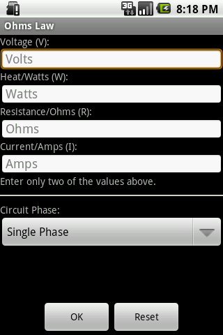Ohm's Law- screenshot
