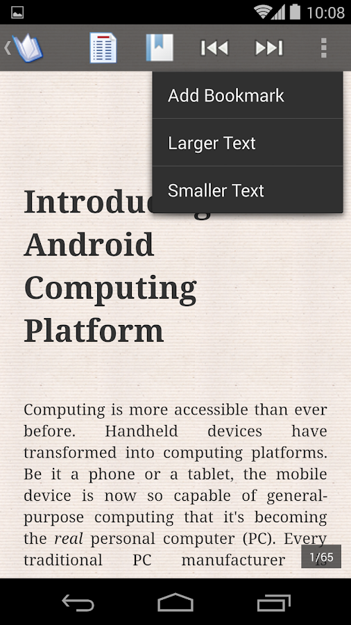 ePub Reader for Android: captura de tela