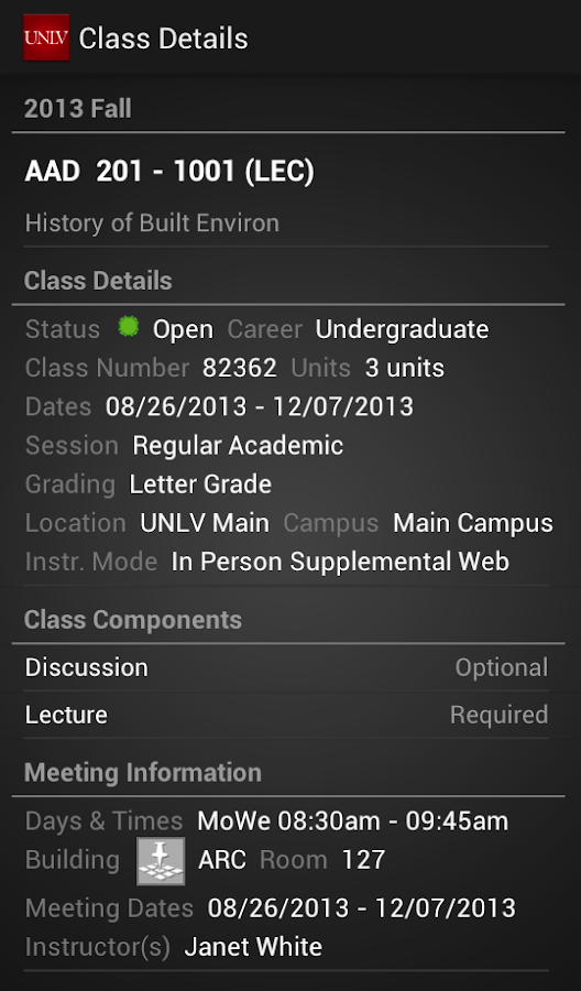 UNLV Mobile - screenshot