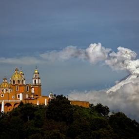 Church and Volcano by Cristobal Garciaferro Rubio - City,  Street & Park  Vistas ( popo, mexico, puebla, popocatepetl, smoking volcano )