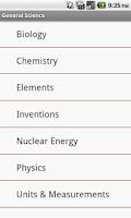 Screenshot of General Science