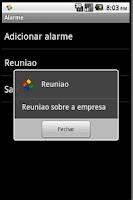 Screenshot of Alarm