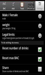 DrinkDroid BAC calculator - screenshot thumbnail