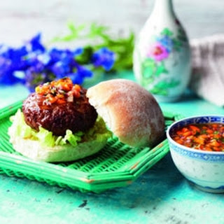 Hoisin Burgers With Sweet Pepper Relish.