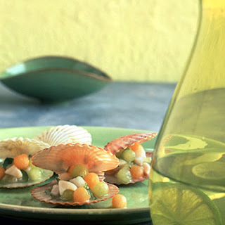 Bay Scallop Seviche with Melon Pearls.