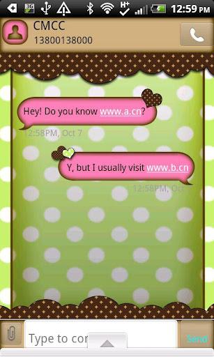 GO SMS THEME GrnPinkDot