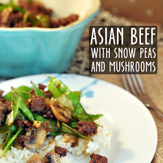Asian Beef with Snow Peas and Mushrooms.