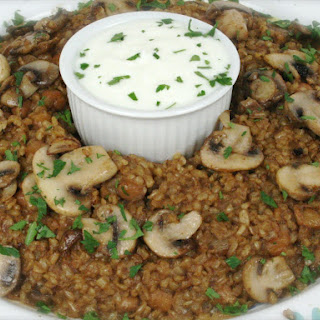 Bulgur Pilaf with chick peas and mushrooms.