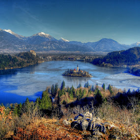 Lake Bled by Tina K - Landscapes Mountains & Hills ( mountains, church, slovenia, bled, lake, ojstrica, view, island, alps,  )
