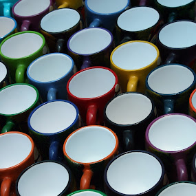 Cups at the Market by Robert Hamm - Artistic Objects Cups, Plates & Utensils ( abstract, cup, otavalo, craft, ecuador, colorful, texture, handmade, shape, material, mug, market, color, outdoor, colors, landscape, portrait, object, filter forge,  )