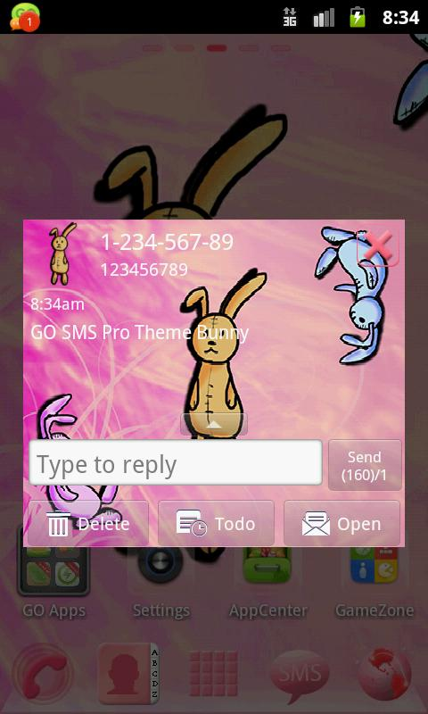 Theme Bunny for GO SMS Pro- screenshot