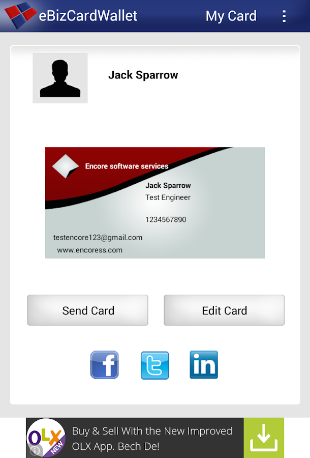 eBizCard Wallet V2.1- screenshot