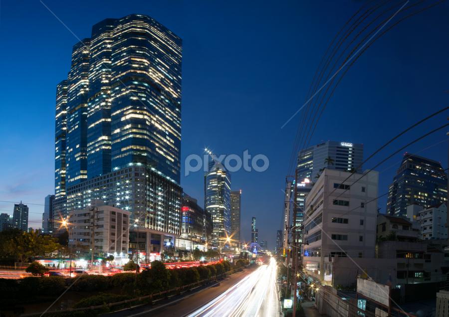 Bangkok rush hour panorama by Waraphorn Aphai - City,  Street & Park  City Parks ( bangkok, towers, rush hour, traffic jam, twilight, panorama )