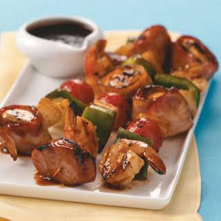 Sausage Shrimp Kabobs.