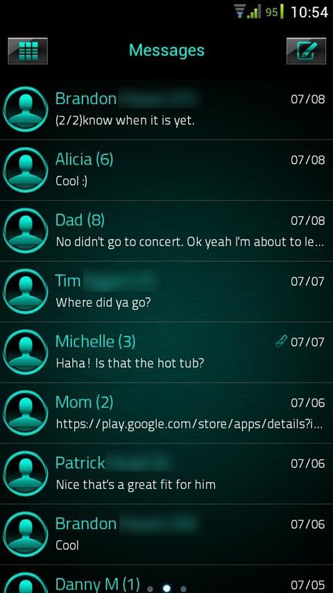 GO SMS Platinum Cyan Theme - screenshot