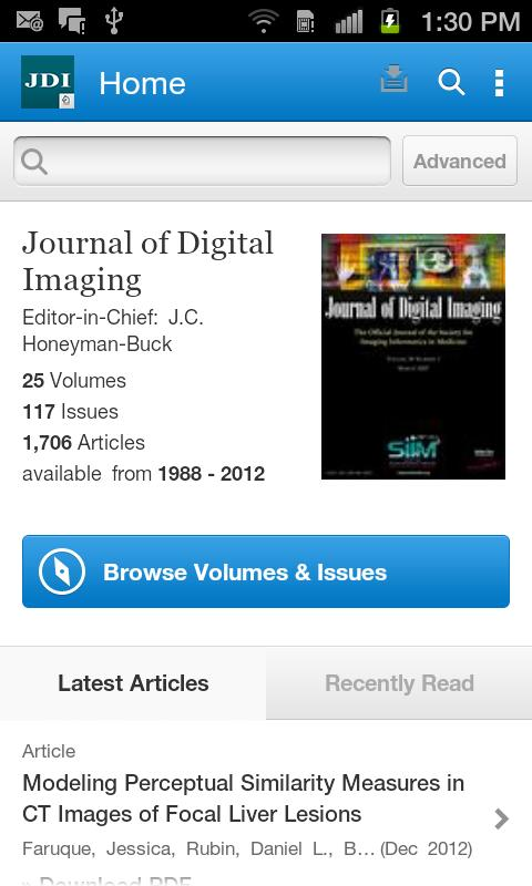 Journal of Digital Imaging - screenshot