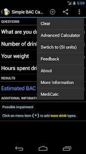 Blood Alcohol Calculator - screenshot thumbnail