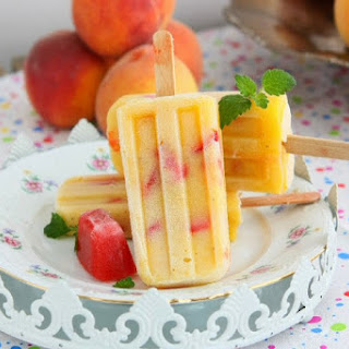 Peach Strawberry Popsicles