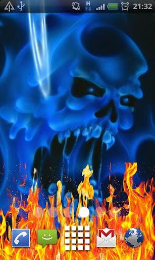 Blue Ghost Skull Fire Flames