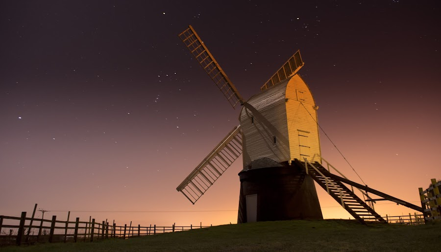 Wrawby Postmill by Bob Riach - Buildings & Architecture Public & Historical ( mill, england, wrawby postmill, night, windmill,  )