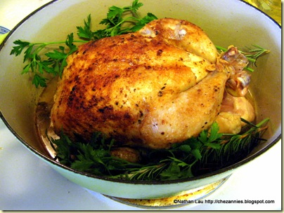 braised chicken in dutch oven with wine, garlic and herbs