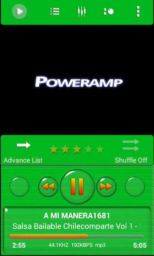 Poweramp Skin Green Minimal