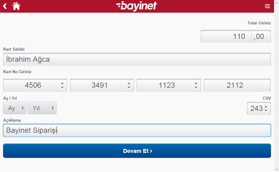 Bayinet Mobile Application- screenshot