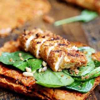 Grilled Breaded Tofu Steaks with Spinach Salad and Tomato Flaxseed Bread.