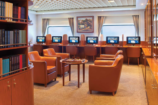 Regent-Seven-Seas-Navigator-Library - The facilities in the Library allow you to stay connected with friends and family throughout your cruise on board Seven Seas Navigator.