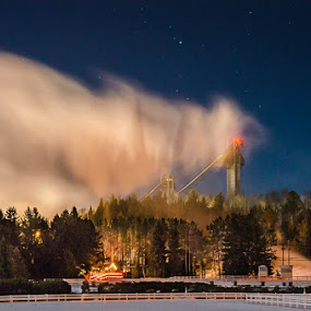 Ski Jumps by Kim Verstringhe - City,  Street & Park  Night ( #lakeplacid, #winter, #skijumps, #snowmaking, #night )