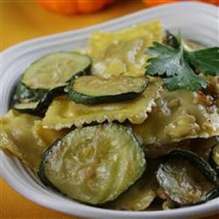 Zucchini with Mushroom Ravioli in Truffle Butter Sauce.