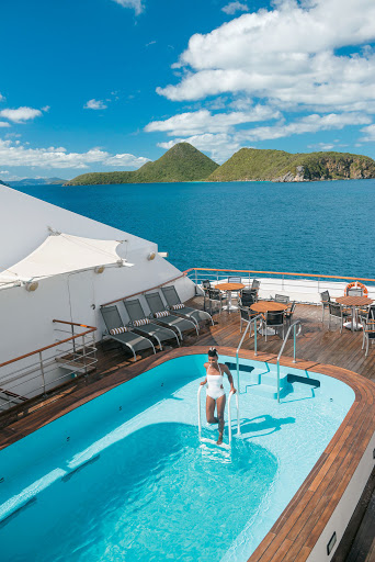 Cool off and chat with new friends in the pool aboard Tere Moana.