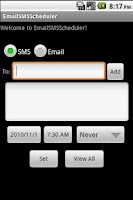 Screenshot of Email SMS Scheduler