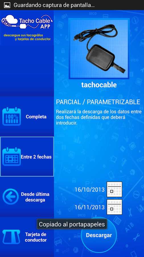 TACHOCABLE | Datos Tacógrafo: captura de pantalla