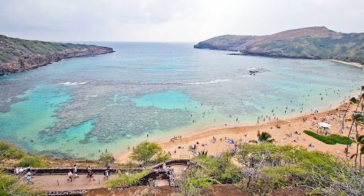 Hanauma-Bay-Oahu-1 - An aerial view of world-famous Hanauma Bay in Honolulu, Hawaii. A million visitors a year pass through the fragile marine ecosystem.