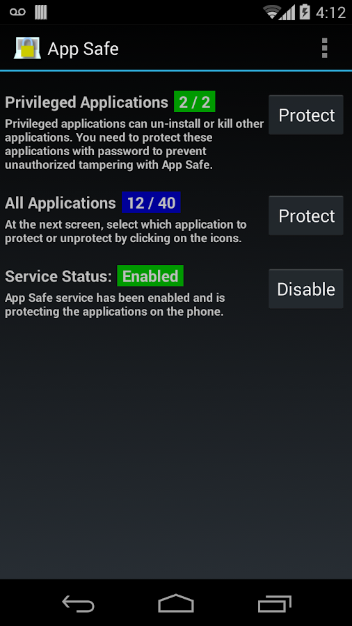 App Safe - screenshot