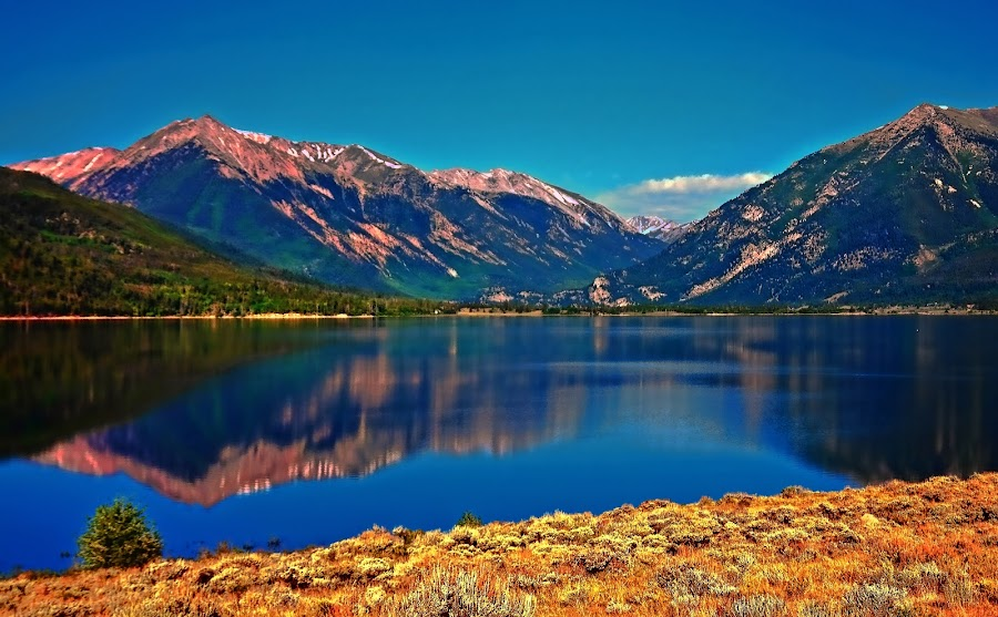 by Todd Yoder - Landscapes Waterscapes ( reflection, mountains, graases, sky, lake )