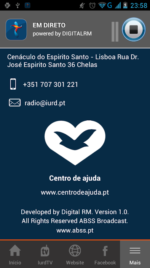 Rádio Positiva Portugal- screenshot