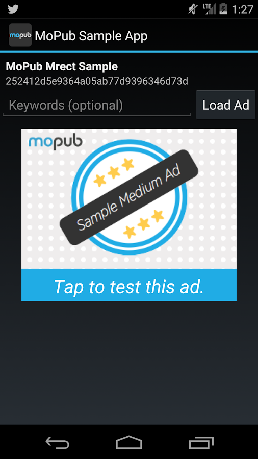 MoPub Sample App- screenshot