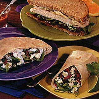 Feta, Cucumber and Spinach Pita Sandwiches.