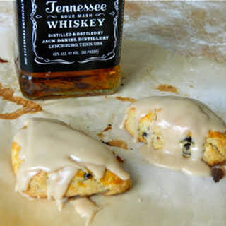 Spiked Cherry Scones with Bourbon Vanilla Glaze.