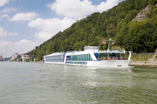 Guests will enjoy a sunny day of sightseeing from the top deck of AmaDante as they sail Europe's waterways. The ship  features spacious staterooms, most with French balconies, Internet/wi-fi and guided bicycle tours at stops along the river.
