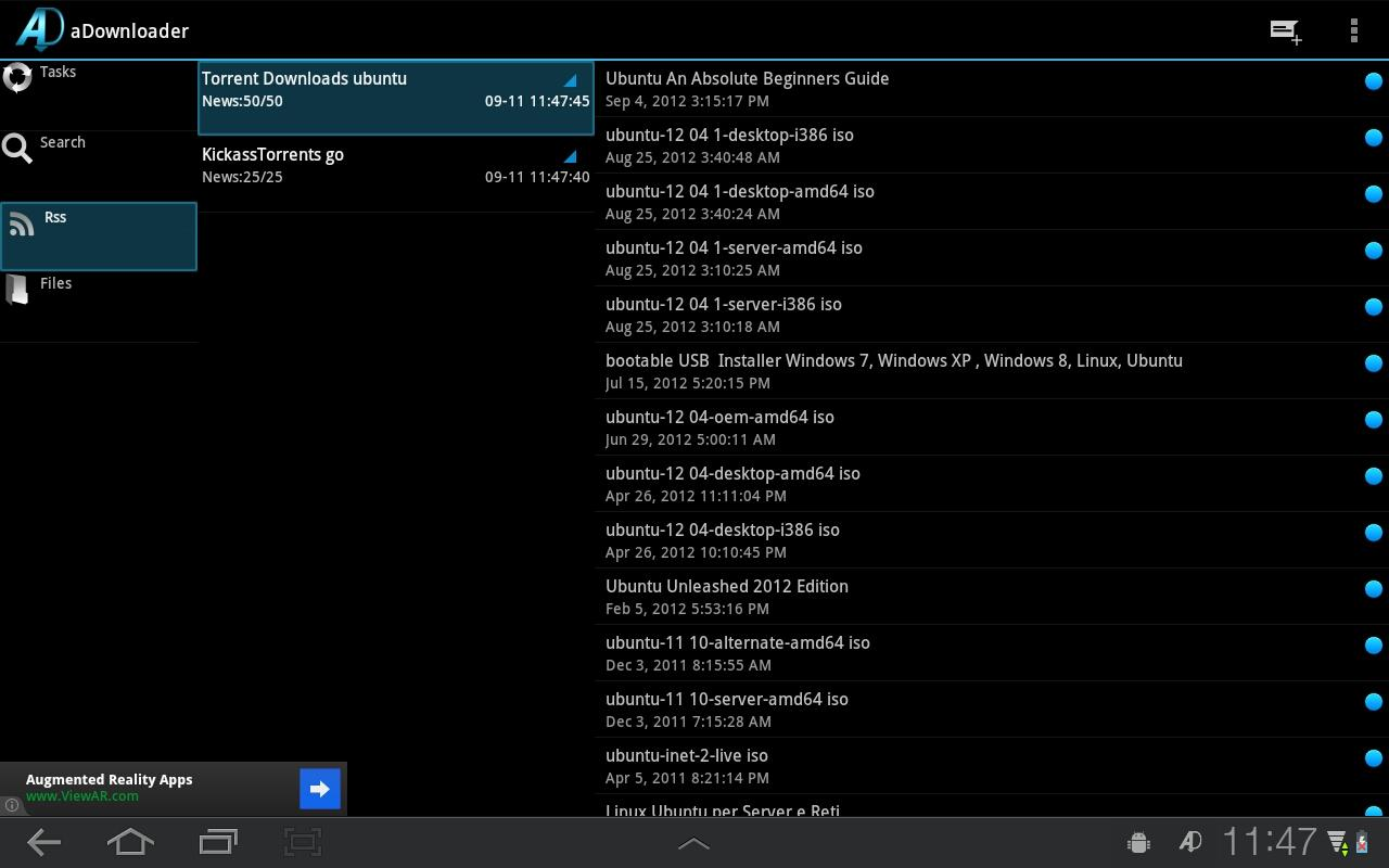 aDownloader - torrent download - screenshot